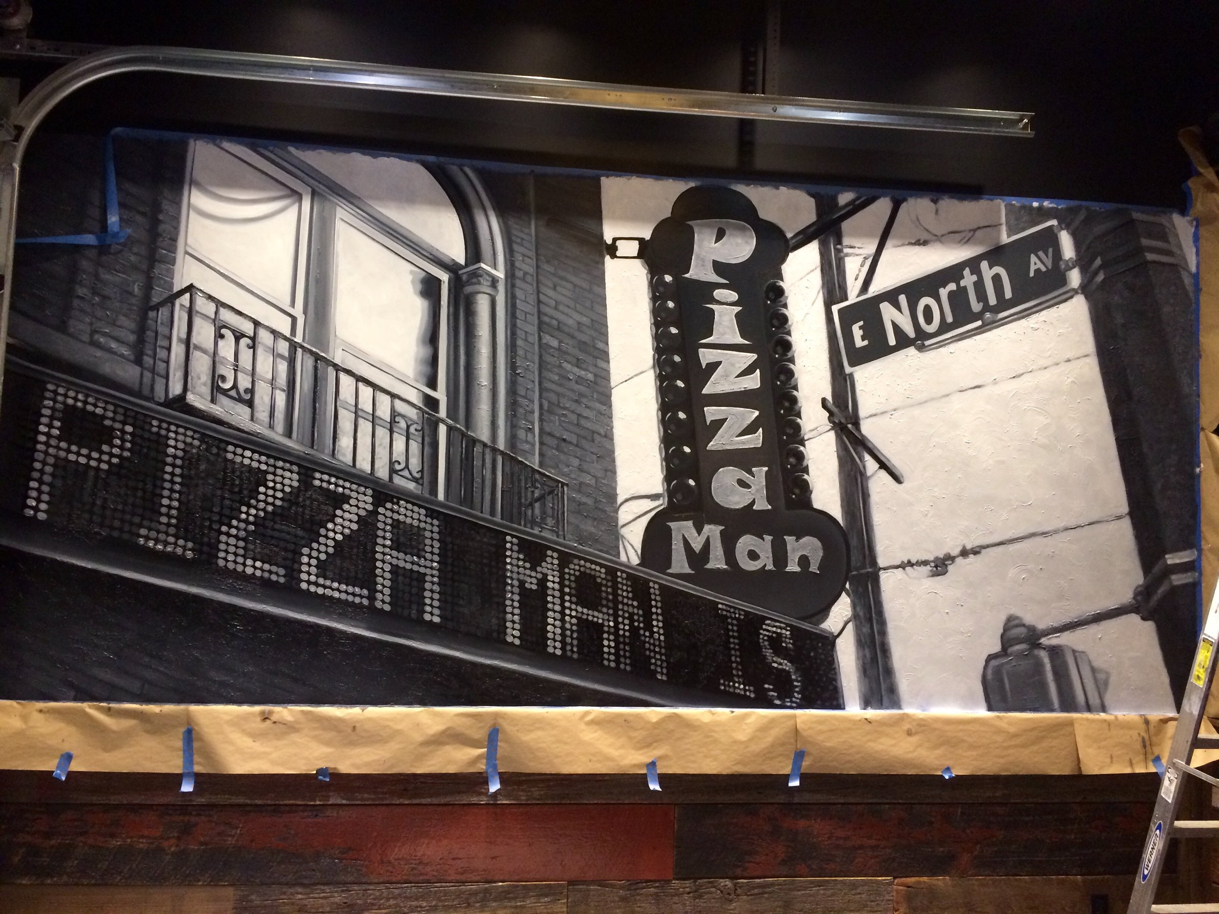 Painting of Original Pizza Man Building