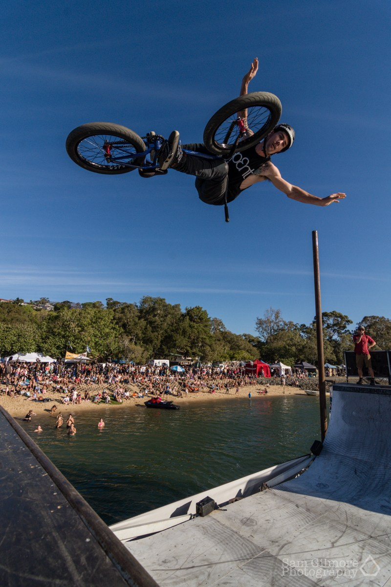 SPENT BMX thrilled the creekside crowds last year on Australia's first floating half-pipe. Pic: Sam Gilmore