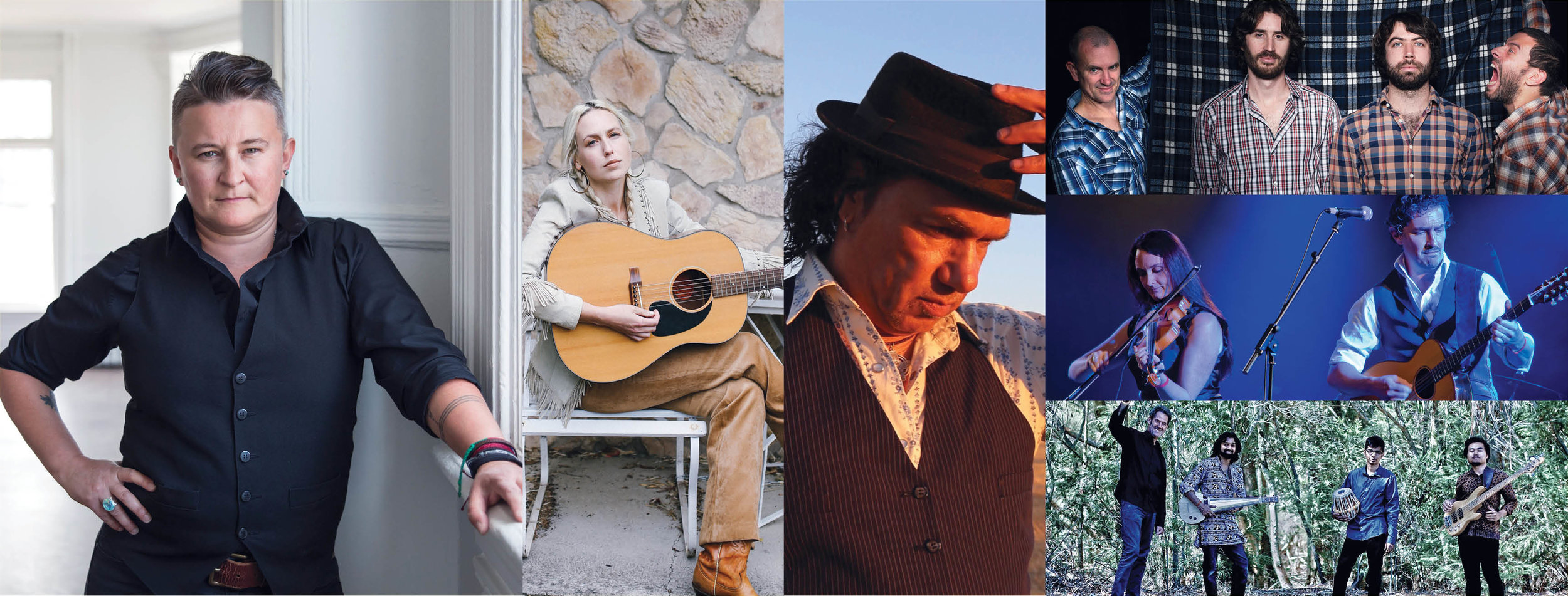 Performing at 2019 National Folk Festival (L-R): Irish Mythen, Freya Hollick, Glen Skuthorpe, Green Mohair Suits, Nancy Kerr & James Fagan, Praashekh Quartet.