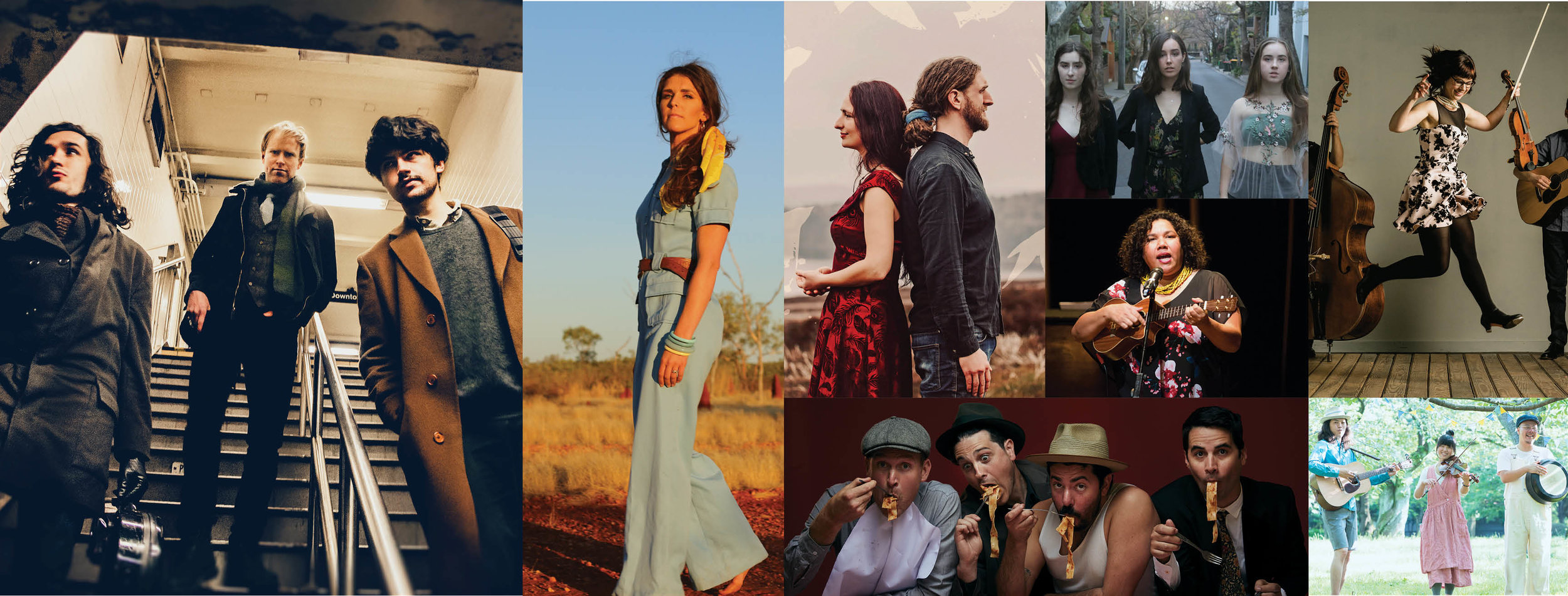 Added to the 2019 National Folk Festival Lineup today L-R: Kittel and Co.(USA), Fanny Lumsden (AUS), Edgelarks (UK), Little Quirks (AUS), Mission Songs (AUS), The April Verch Band (CAN/USA), The Cope Street Parade (AUS), John John Festival (JPN)