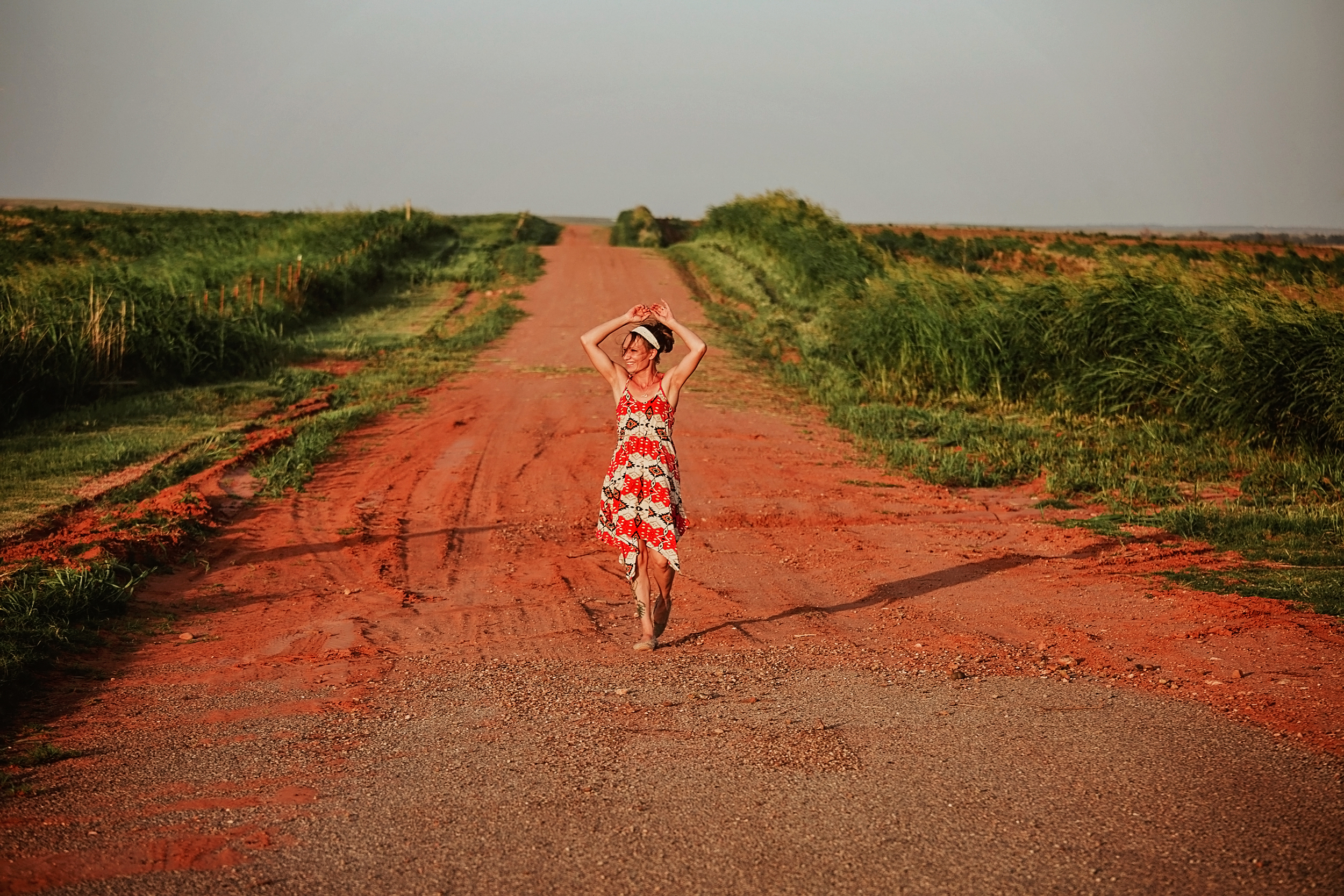 Twirling freely on an old familiar dirt road visiting family in Western Oklahoma.