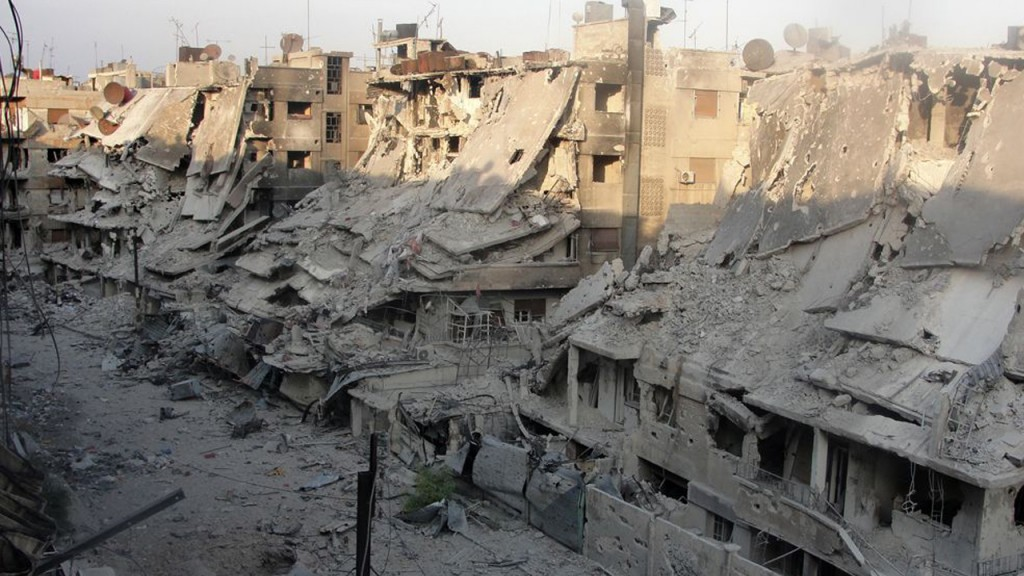 Destruction in the Syrian city of Homs