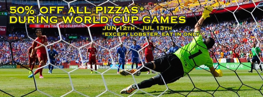 * does not include lobster pizza, must be eat in only