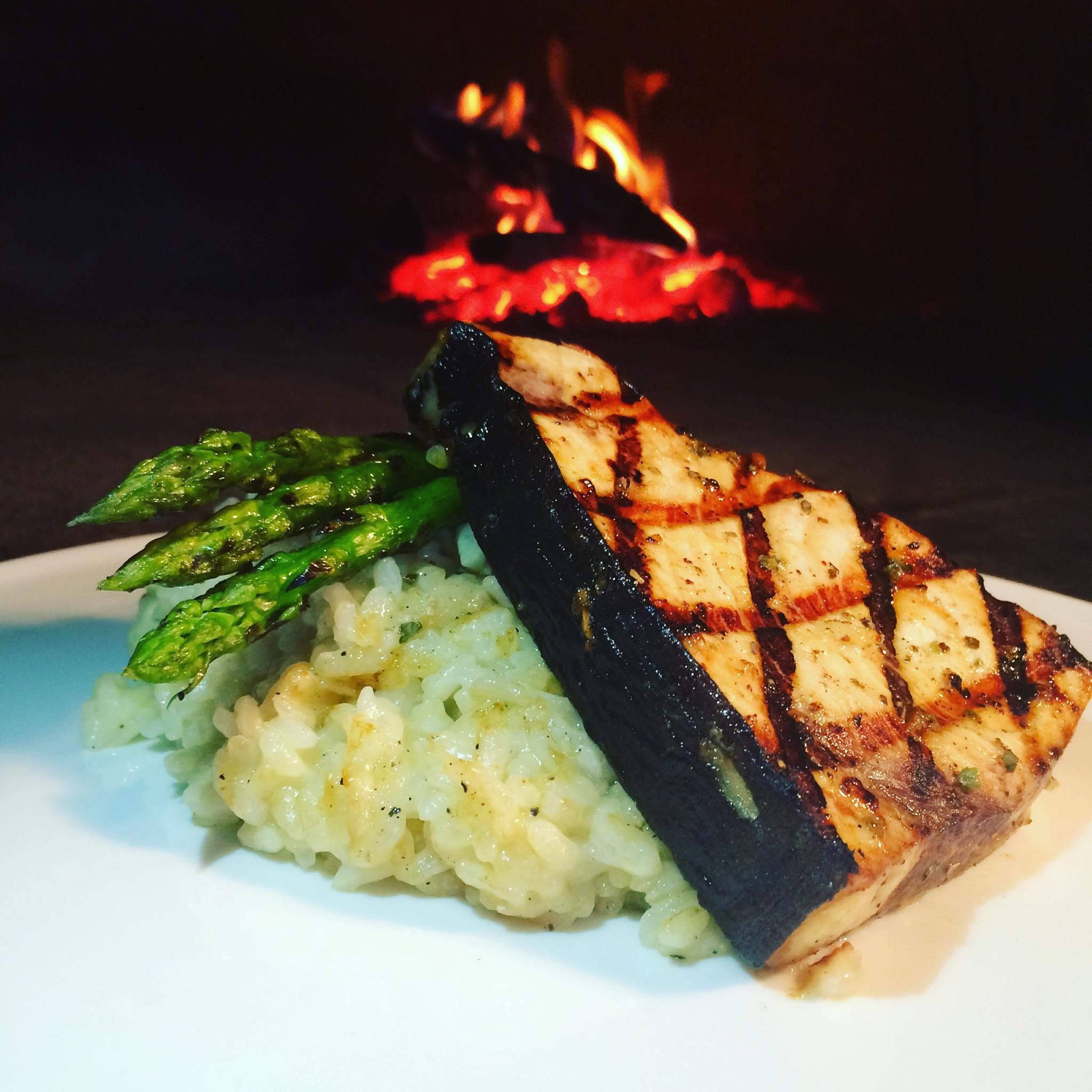 Grilled Swordfish & Porcini Risotto