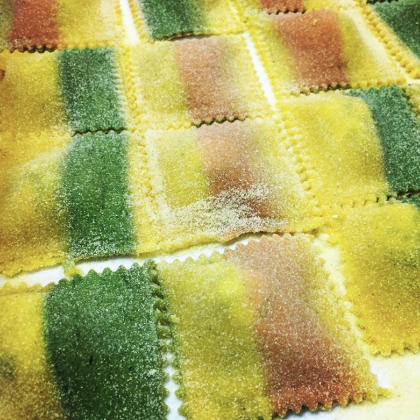 Tricolori Ravioli - Chef's special handmade ravioli filled with ricotta & spinach in brown butter & sage sauce $18