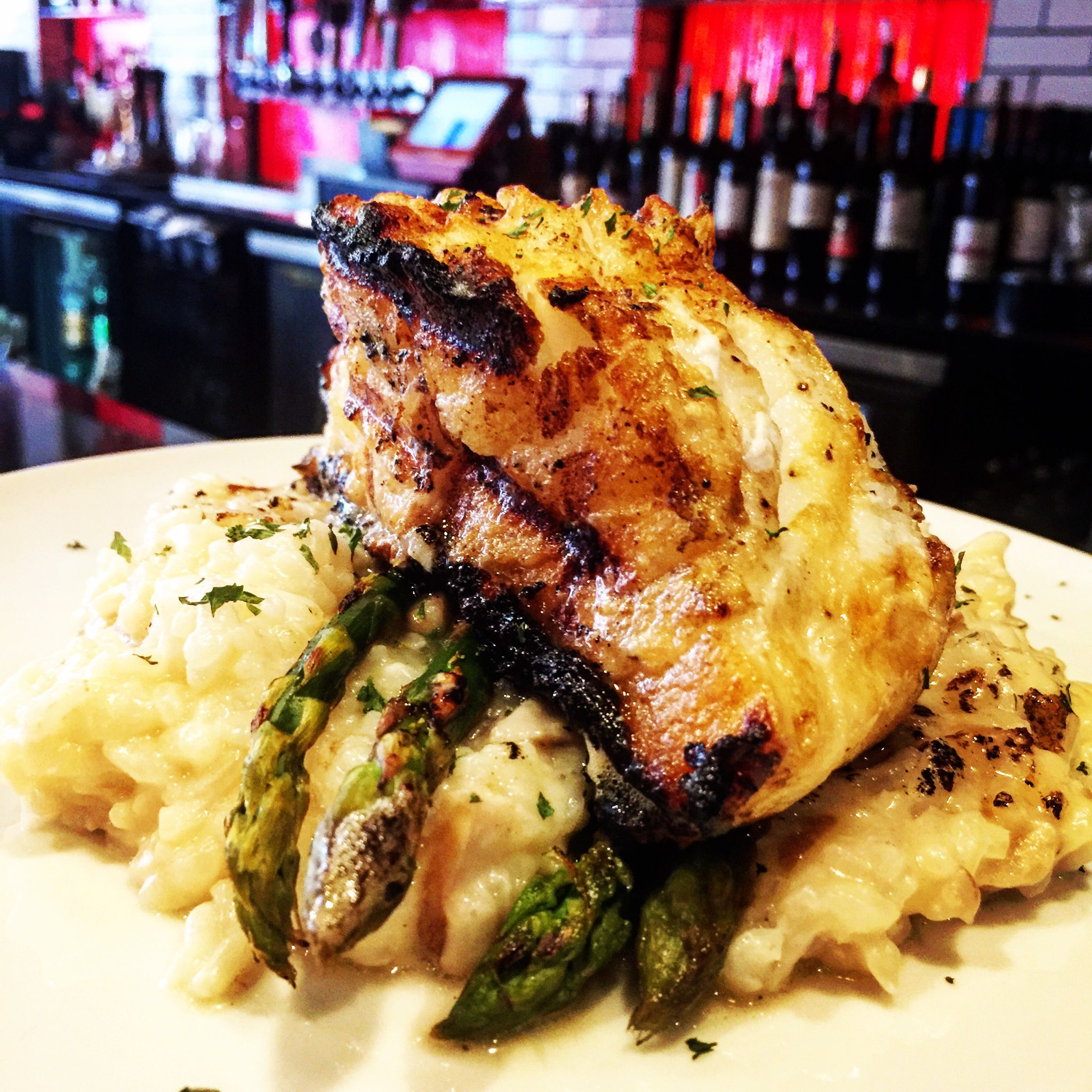Sea Bass - with porcini risotto and grilled asparagus $25