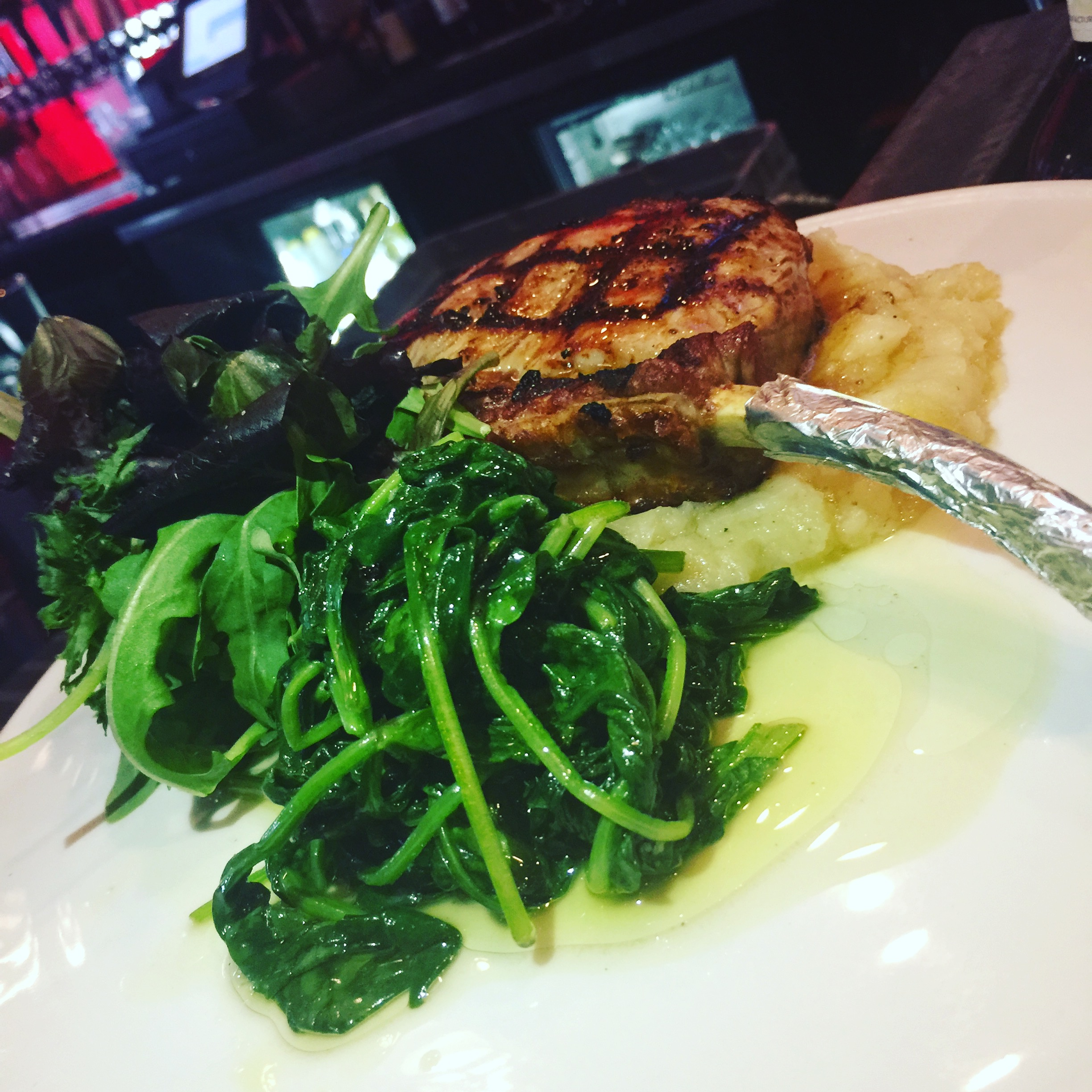 Veal chop, mashed potatoes and spinach - this is a huge hit every time