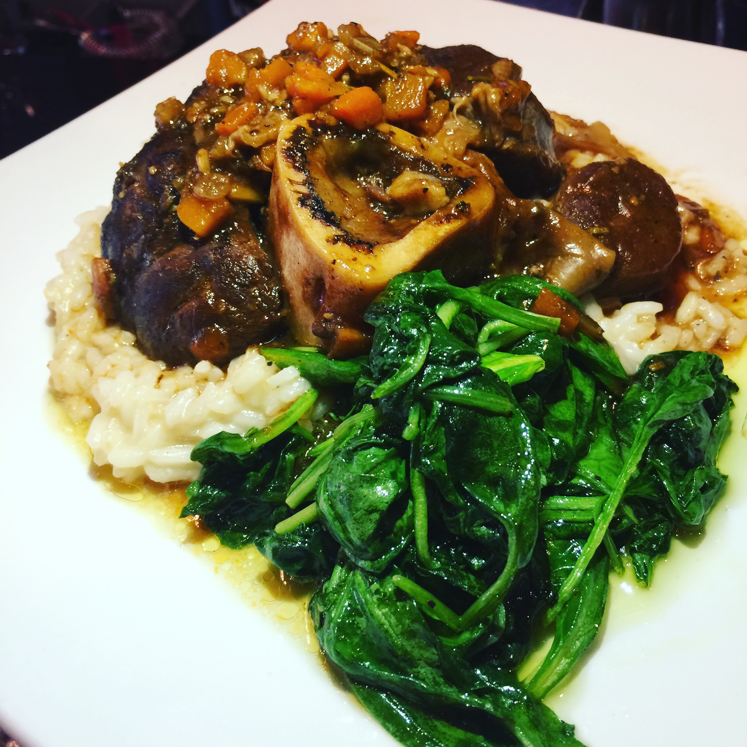 Veal Osso Buco w/ porcini risotto & sautéed spinach cooked to perfection, another favorite - Lou G