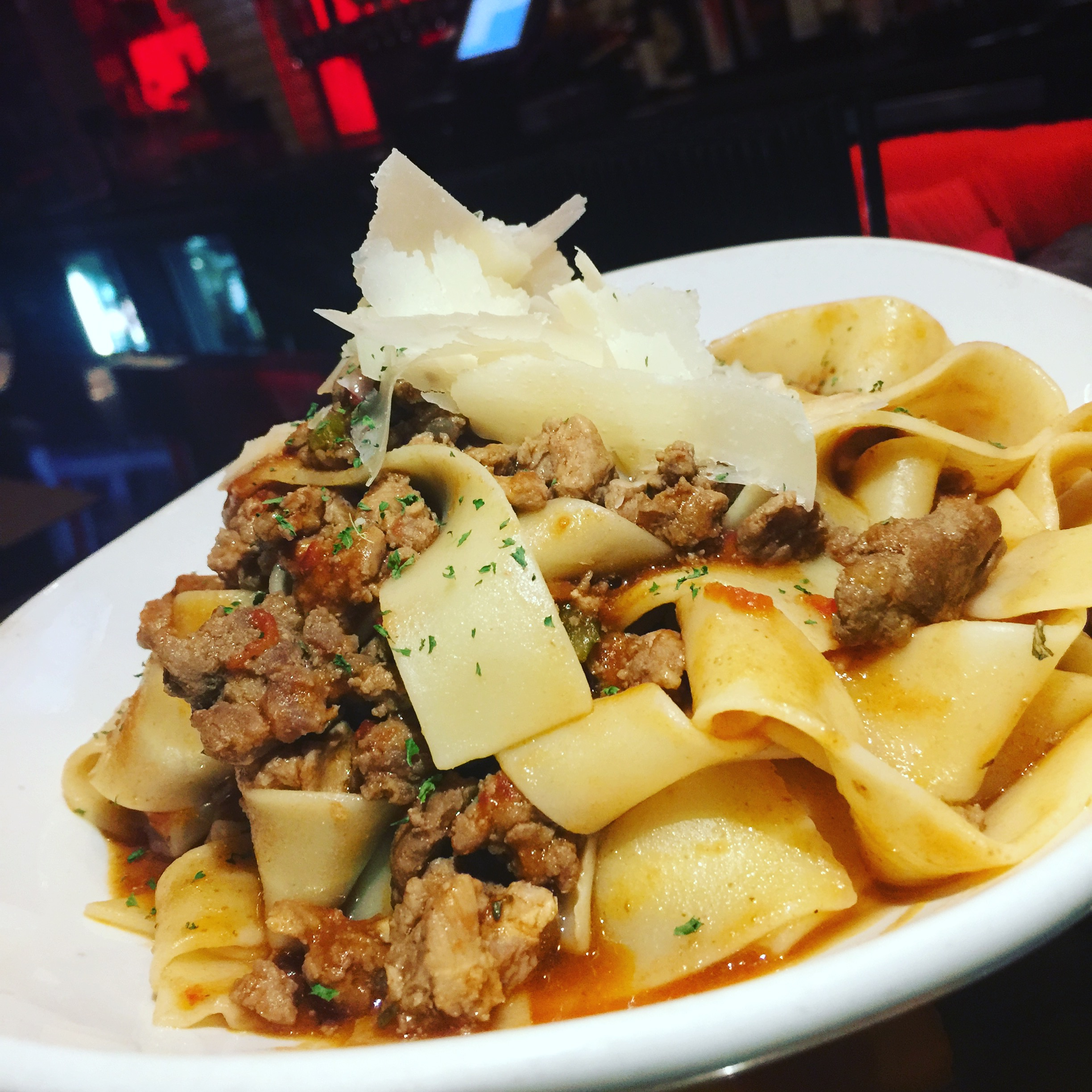 Pappardelle duck ragu with shave parmesan cheese