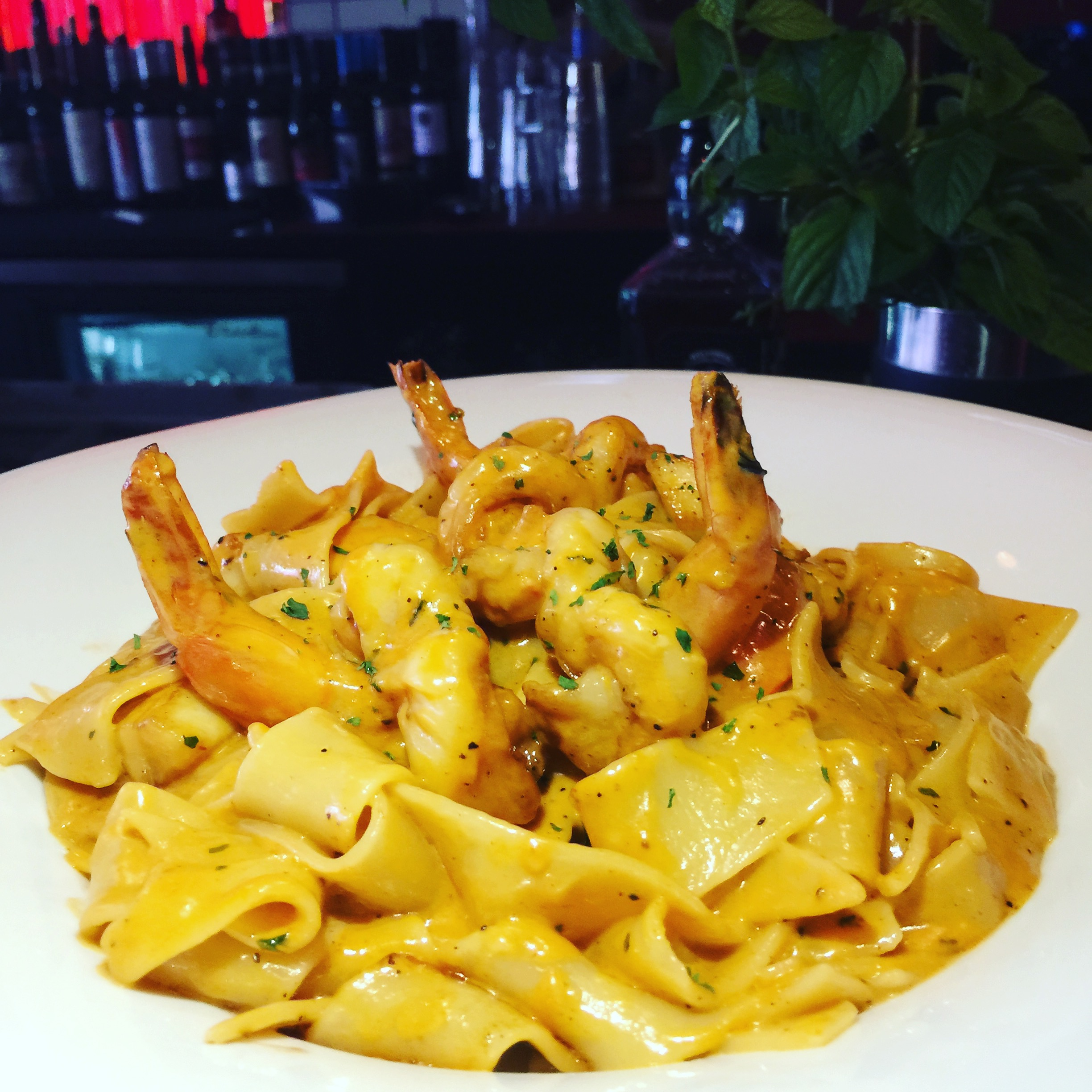 Pappardelle - in a lobster cream sauce with shrimp