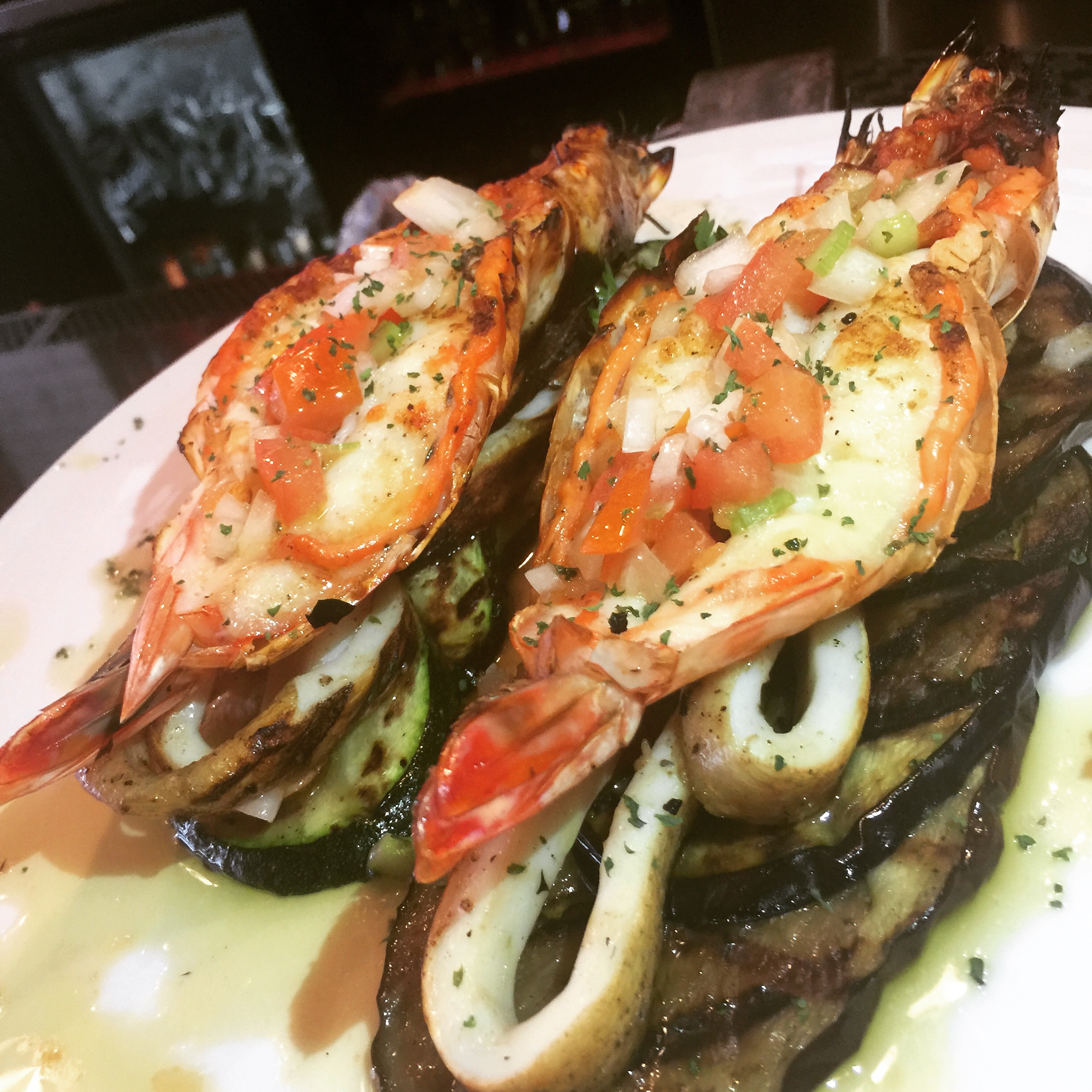Grilled shrimp and calamari with grilled zucchini and eggplant