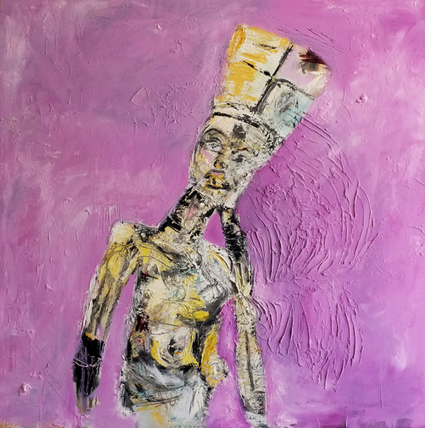 """Sacral Love  52"""" x 52"""" Oil, Plaster, Wax & Charcoal on Canvas. 2013  For pricing and additional images please email:  lindsay@thesherwinassociates.com"""