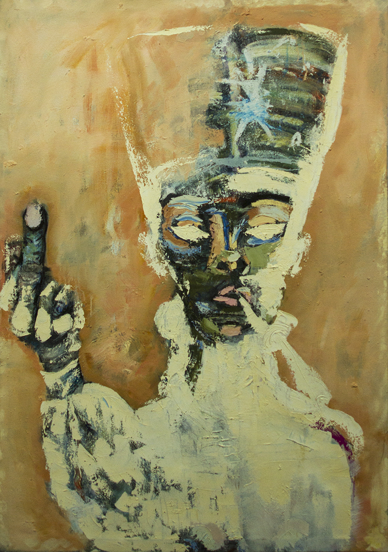 """My Mother of Montserrat  43"""" x 63"""" Oil, wax, charcoal on canvas. 2013   For pricing and additional images please email  lindsay@thesherwinassociates.com"""