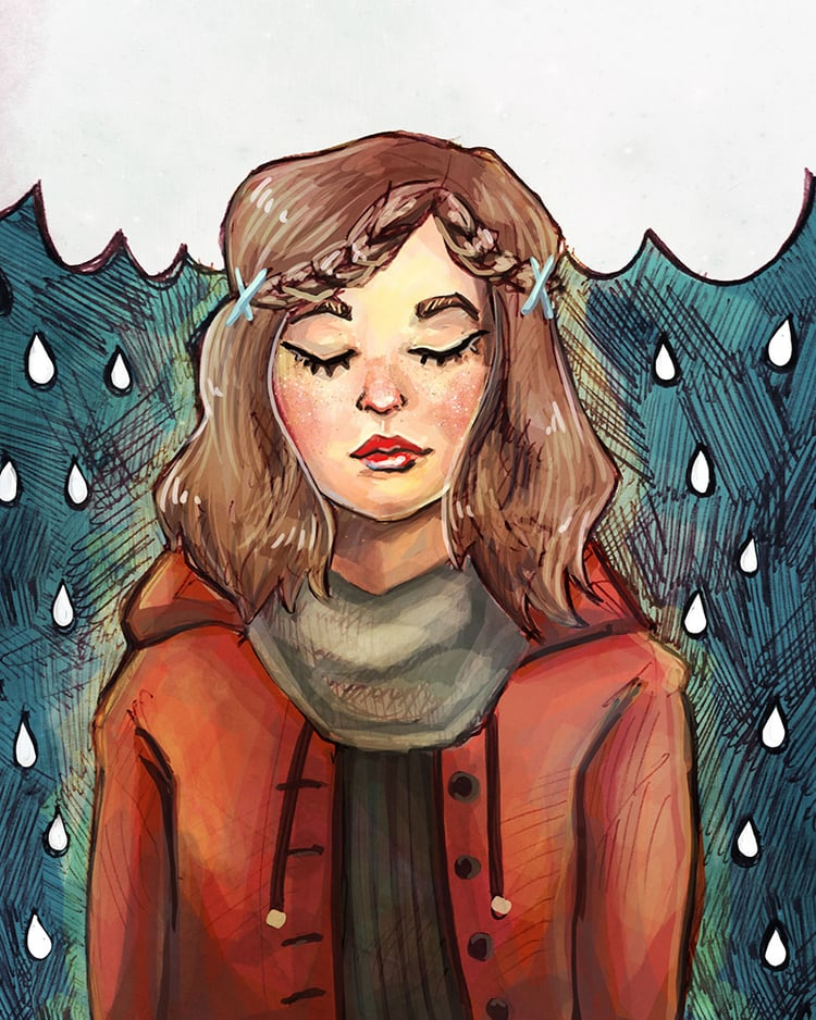 Rainy Thoughts   2016. Mix of Pen + Digital.