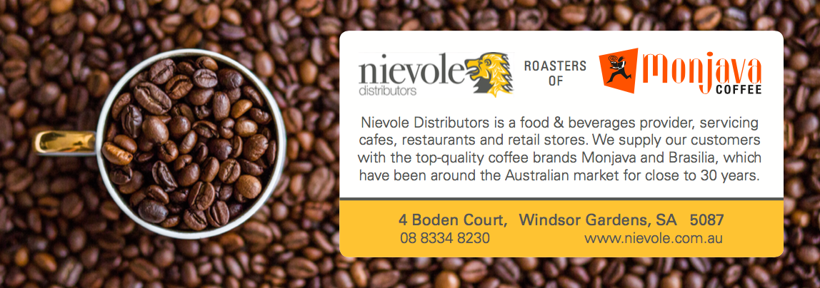 Quarter Page Advertisement for Nievole Distributors, promoting their Monjava Coffee line for ABNS Magazine