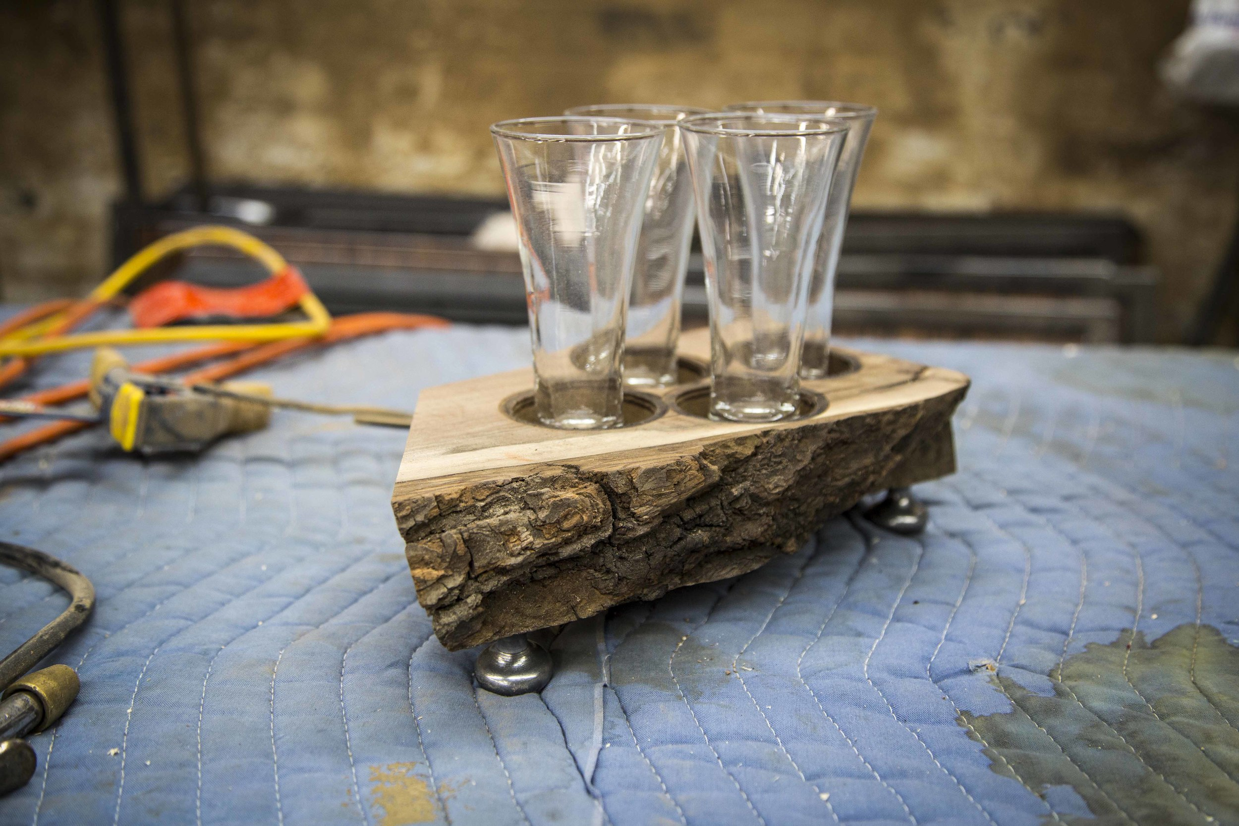 Custom Design Beer Holders. Walnut, Live Edge.
