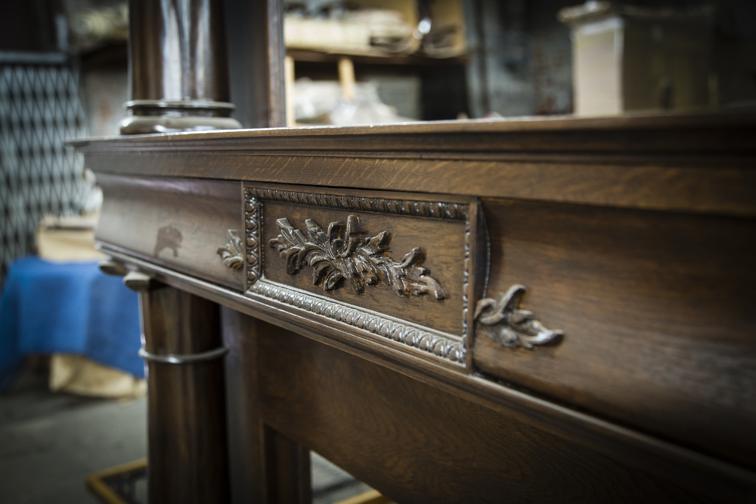 """""""Brooklyn Brownstone Mantle"""" had significant fire damage. we added new hand-carved pieces to the front of the 10ft white oak mantle and did a full restoration job."""