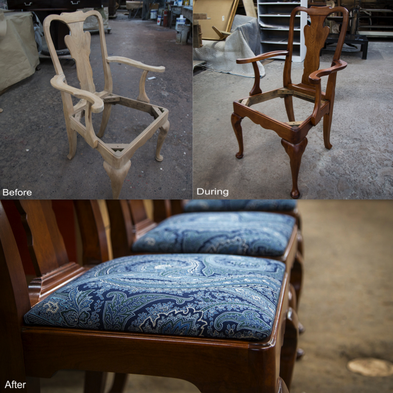 Cherry Wood Chair: Stripped, repaired, sanded, stain reapplied, new coat of lacquer applied.