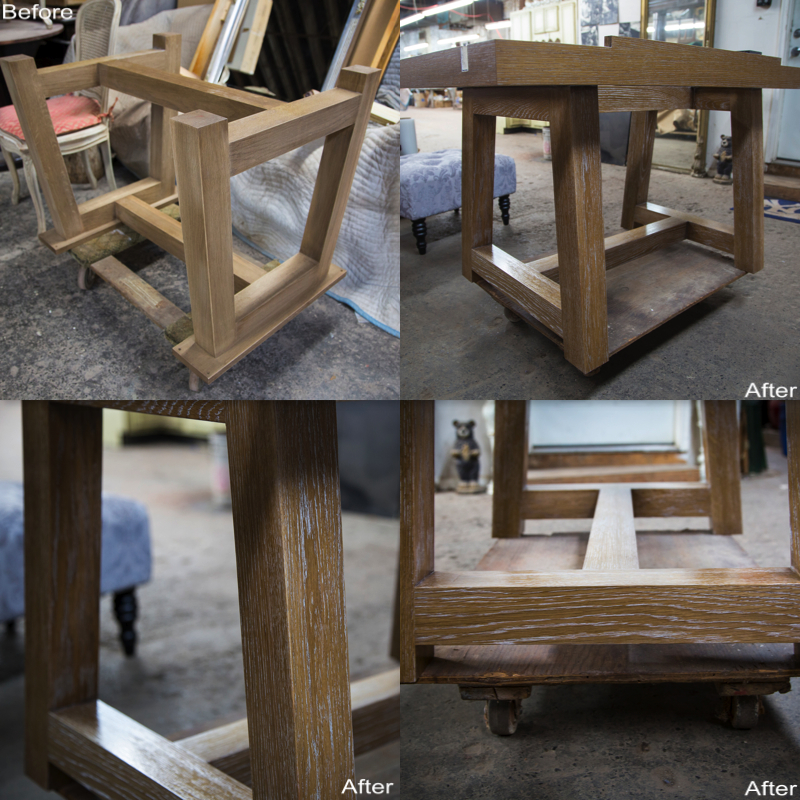 Custom Built Table-Base w/ Custom White Grain Finish.