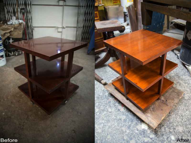 End Table Stripped, New Stain and New Finish Applied