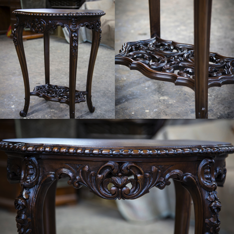 New life brought to this timeless piece! Re-Carved, Sanded, Stain Applied.