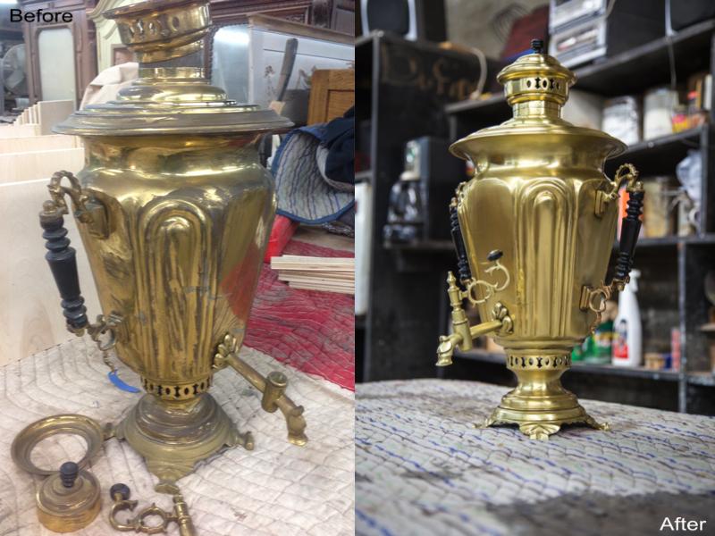 Antique Samovar: Stripped, Refinished Metal, Re-Polished