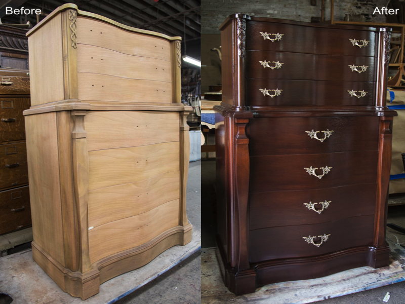 Dresser : Stripped, sanded, scratches removed, stain reapplied, new hardware added, finished with a new coat of lacquer.