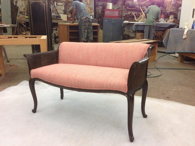 Bench - Restored , Re-Caned and Reupholstered