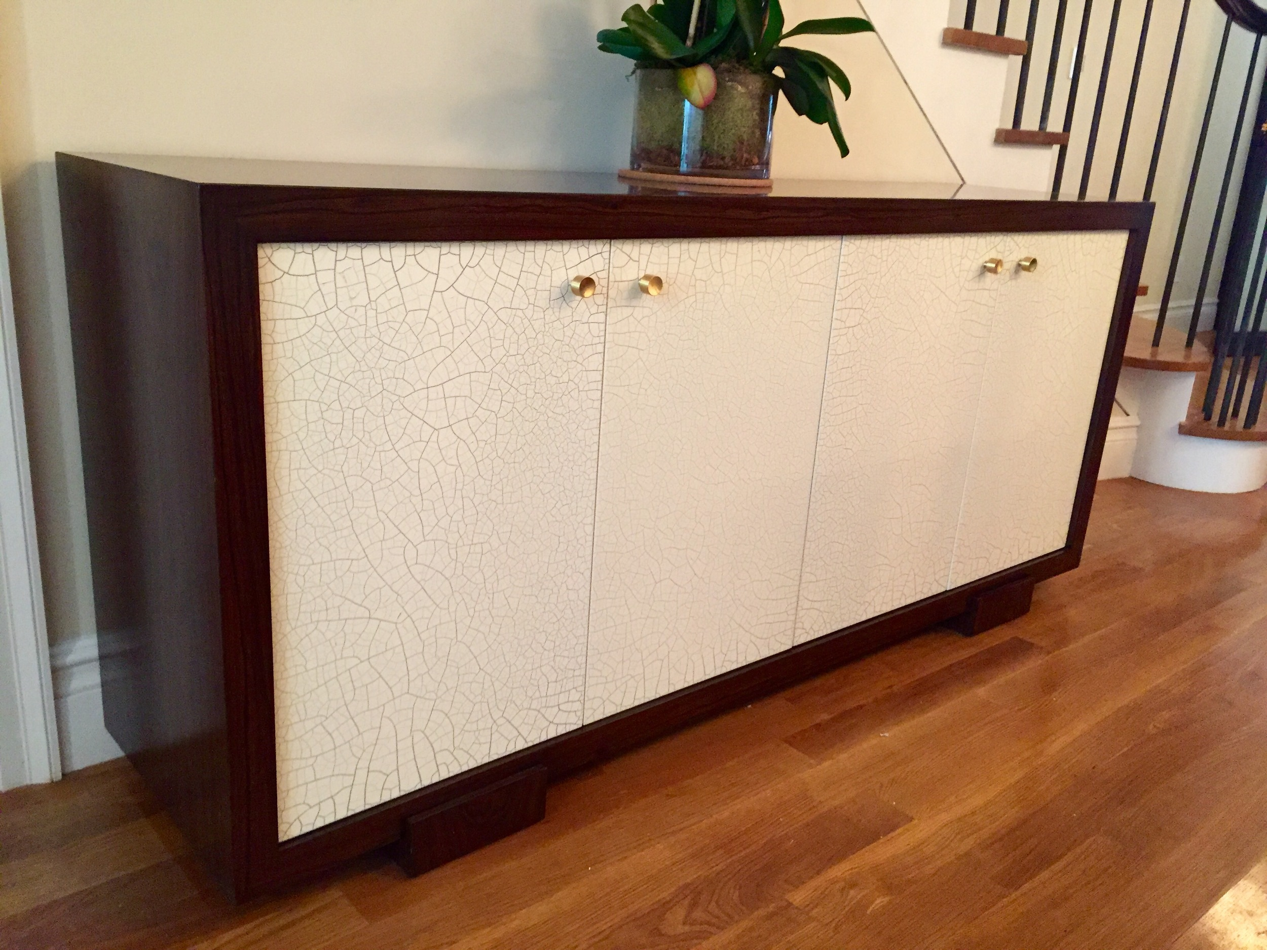 Custom sideboard with a crackle finish