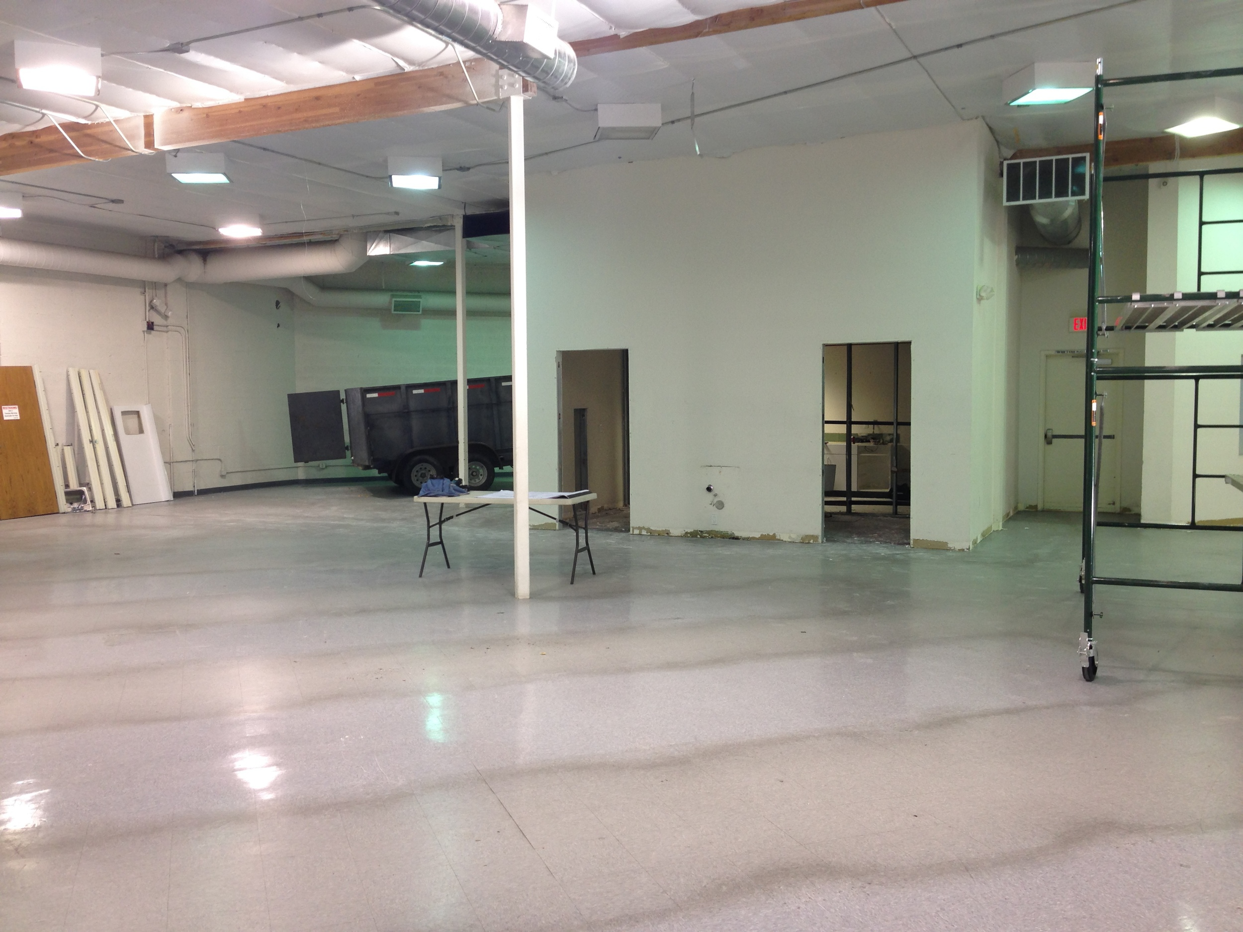 Interior being prepped for construction.