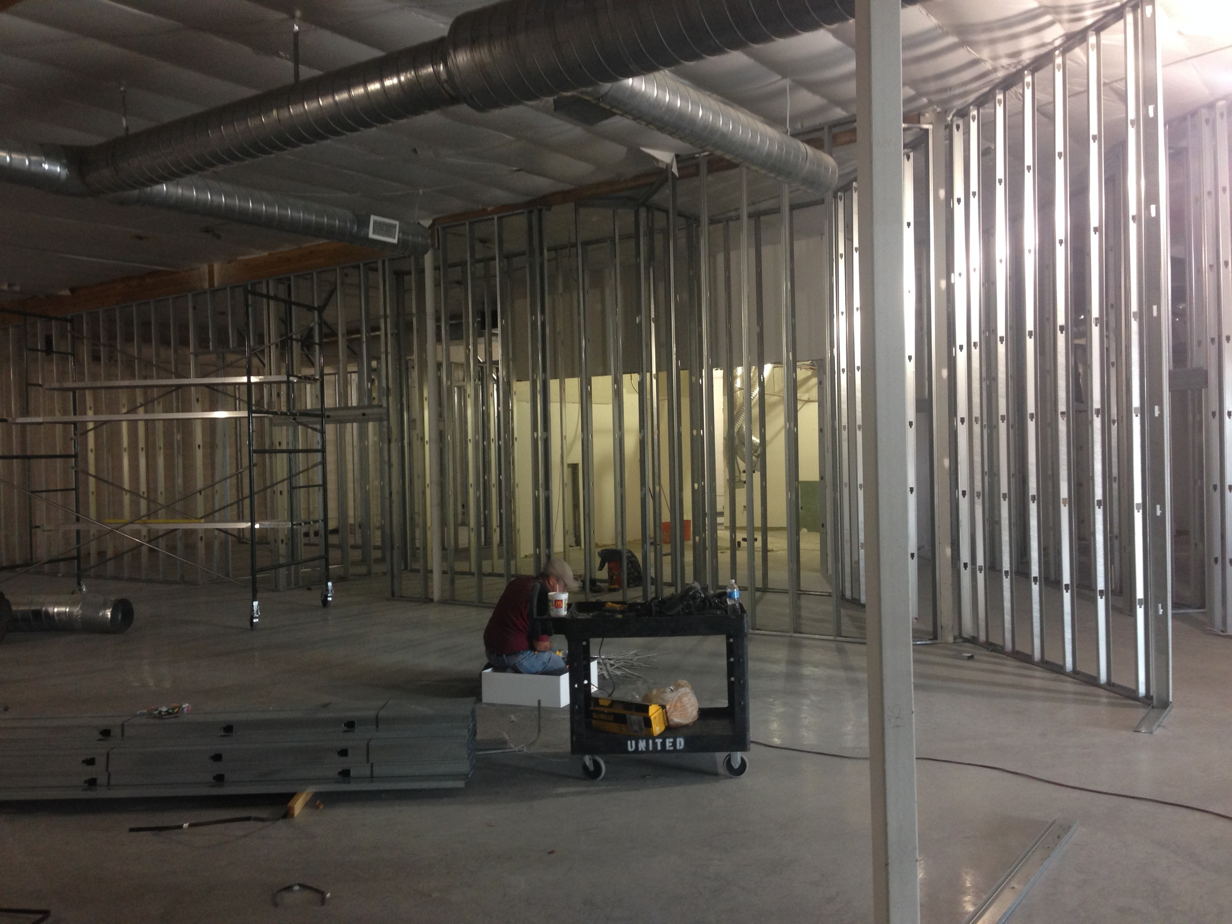 Looking from the back of the gathering space toward the Kids' City classrooms.
