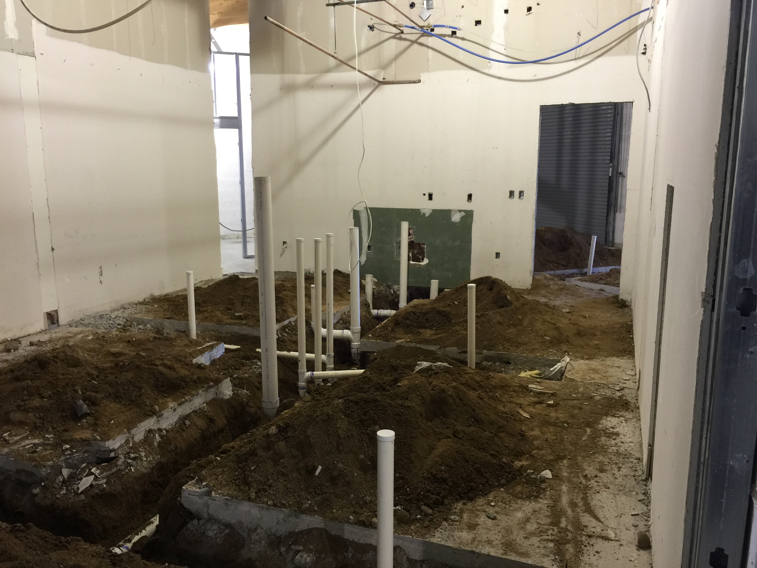 Trenching for the future bathroom plumbing. A thing of beauty.