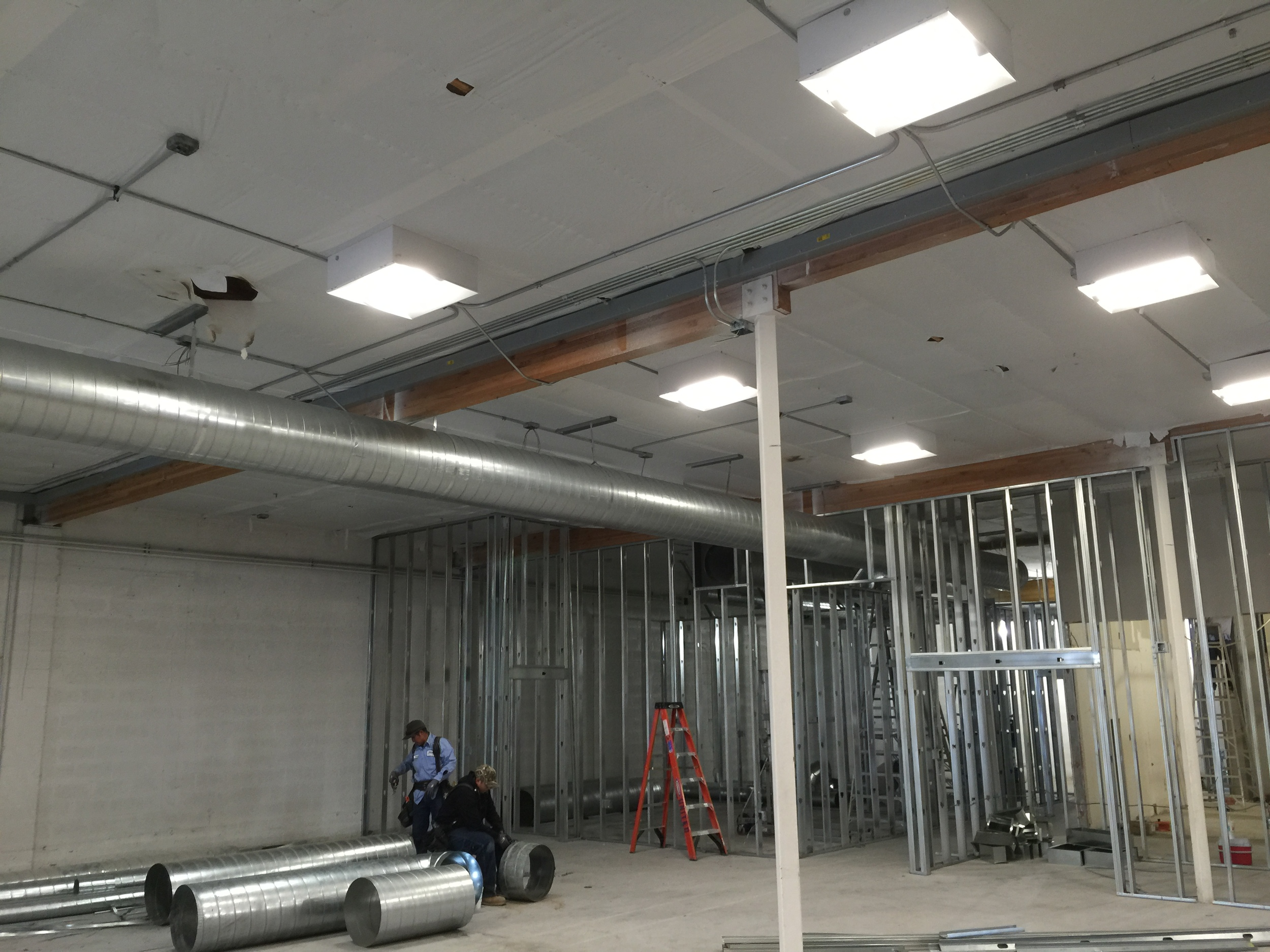 HVAC ductwork going in.