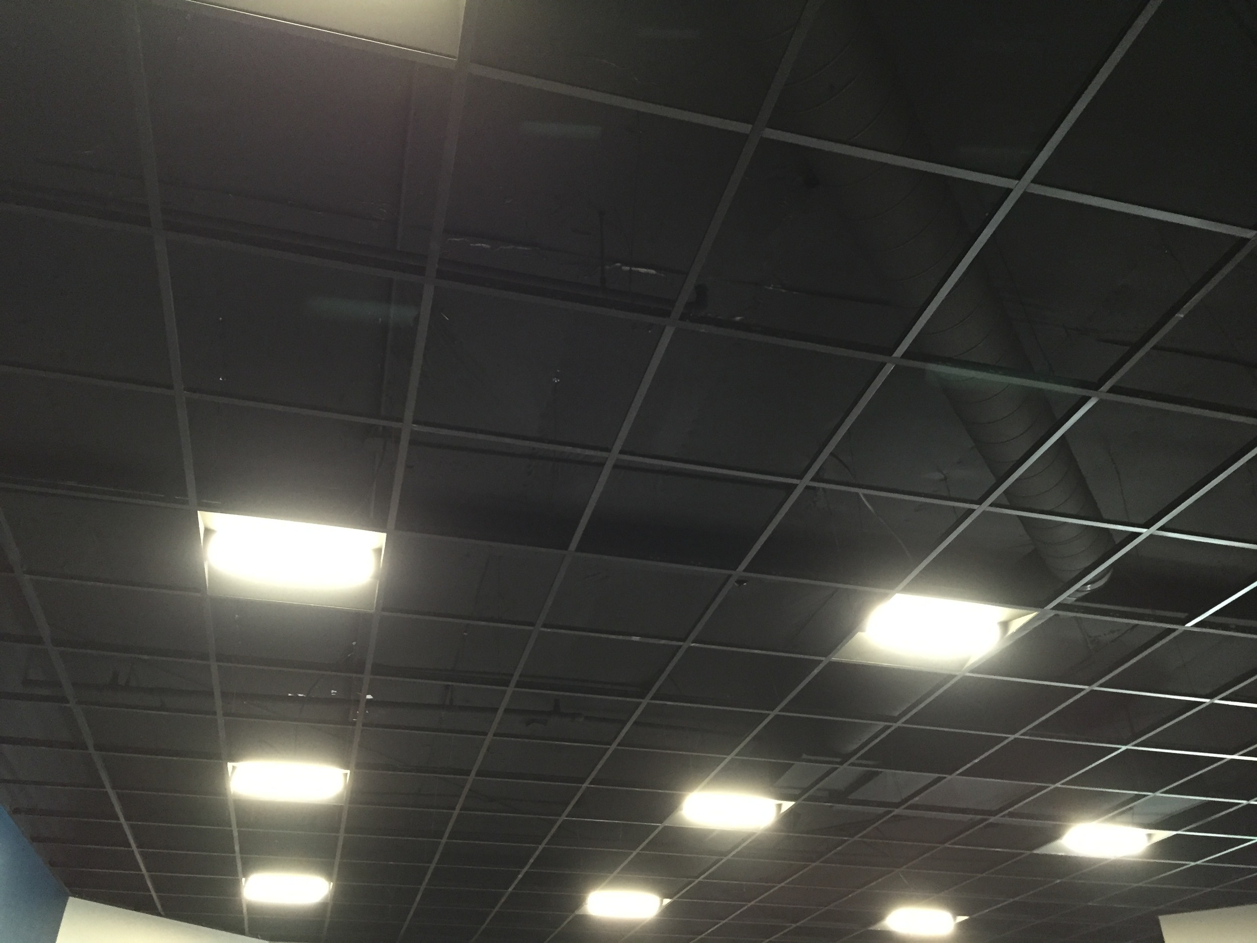 Ceiling grids are going in.