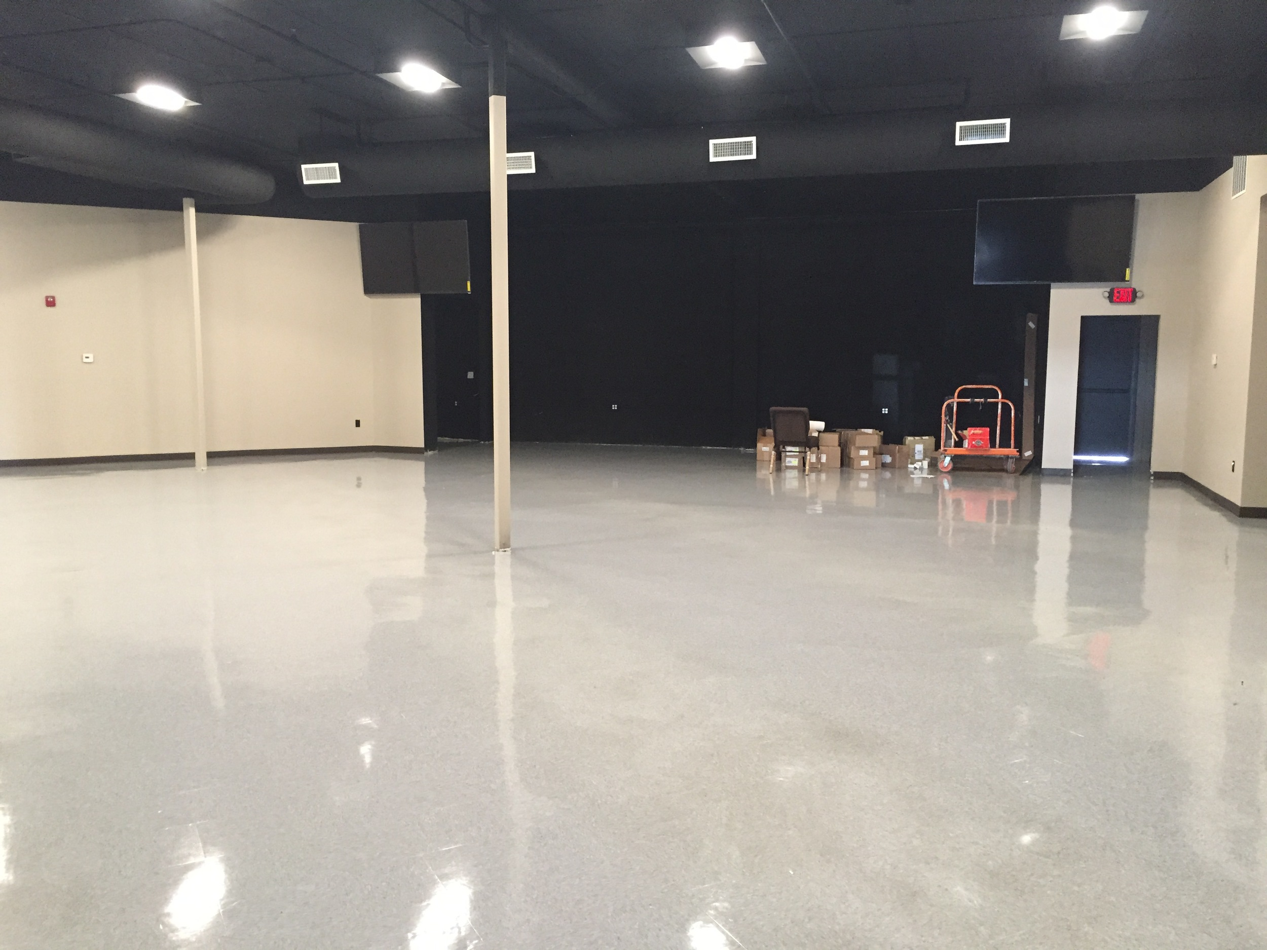 Presentation TVs are in and the floor's been freshly waxed and lookin' shiny!
