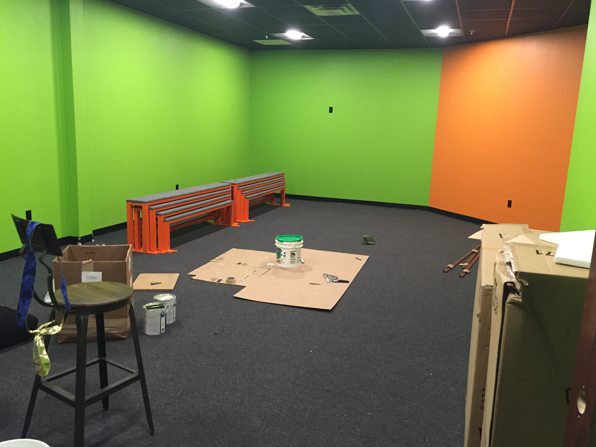 The kids' gathering space is starting to take shape.