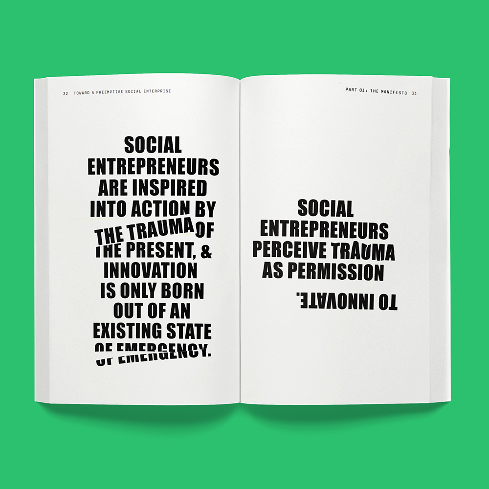 Pages from Toward a Preemptive Social Enterprise | Designer: Kate Manos