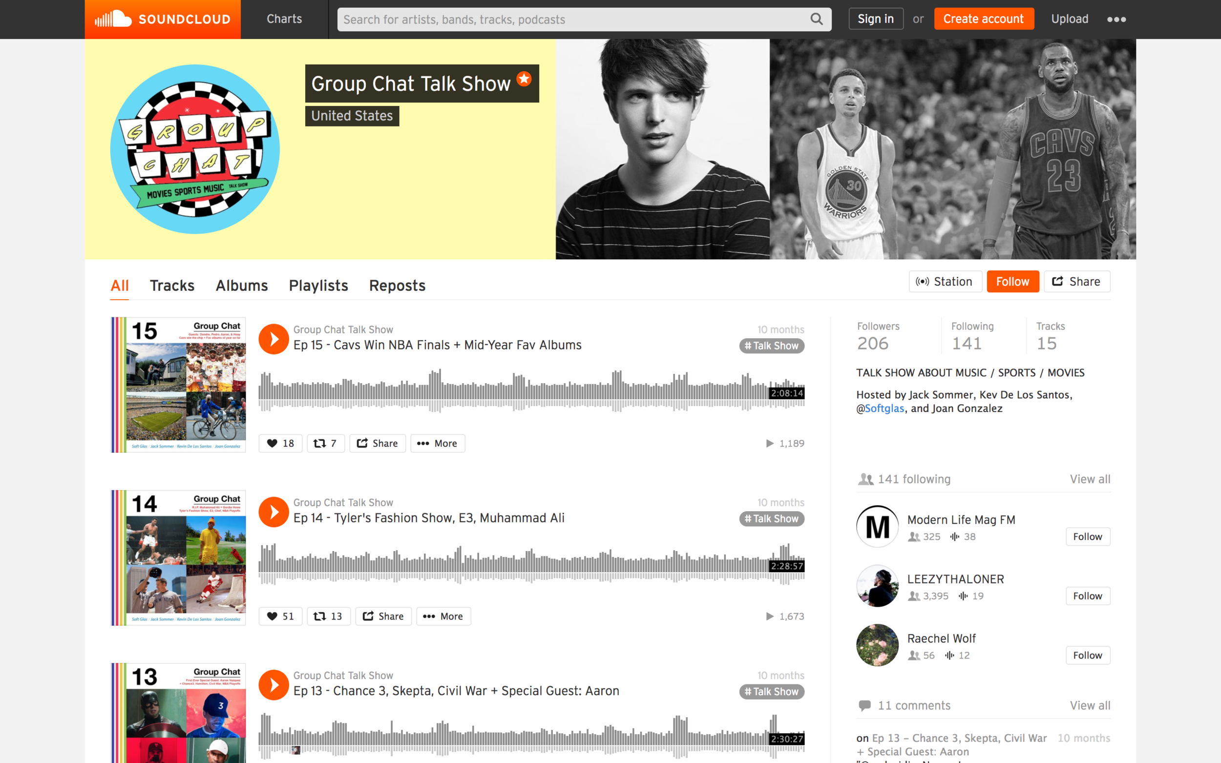 Soundcloud Archive for the site with alternate logo for the platform in place.