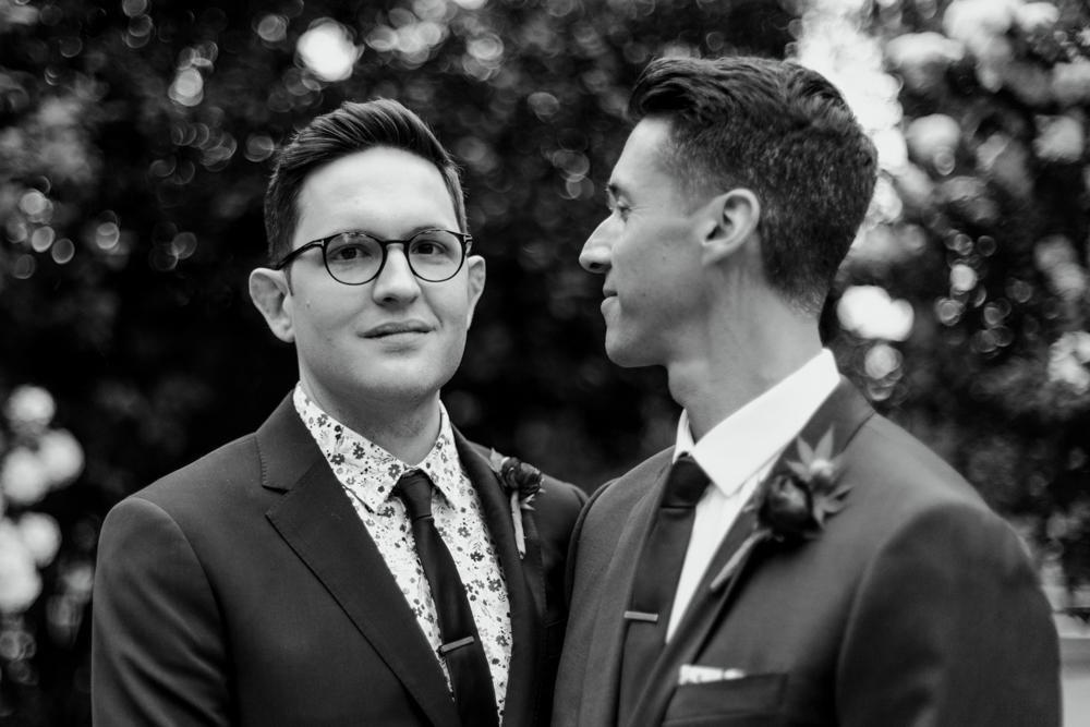 Black and White Same Sex Wedding Couple