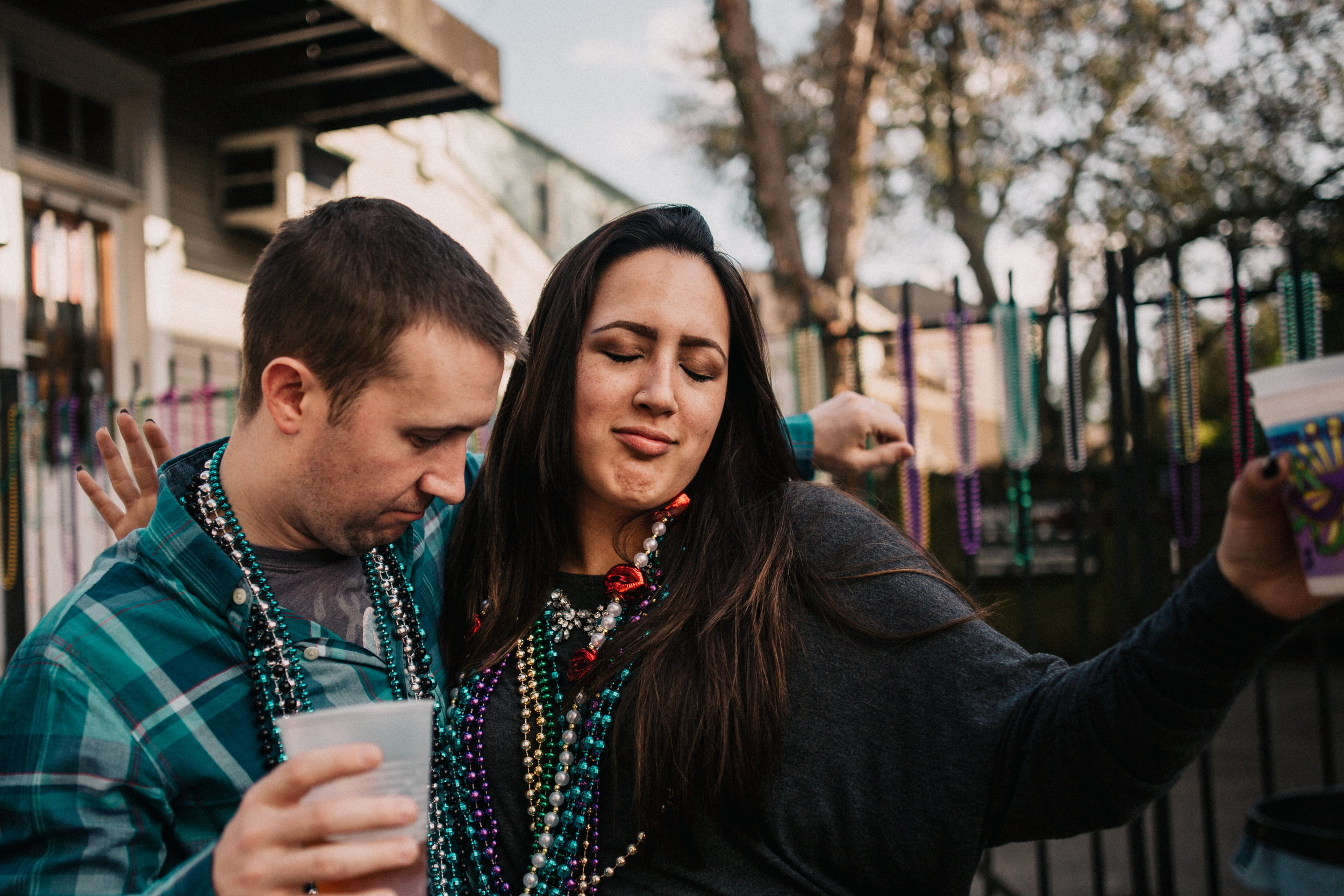 Mardi Gras engagement session in New Orleans