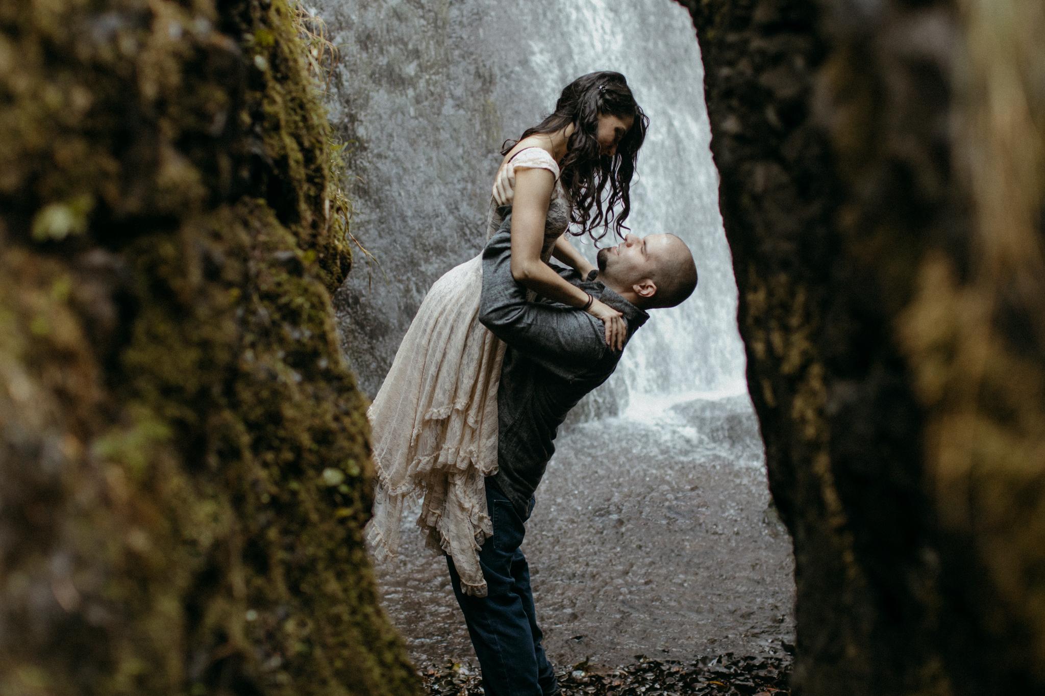 Portland Fall Waterfall Engagement