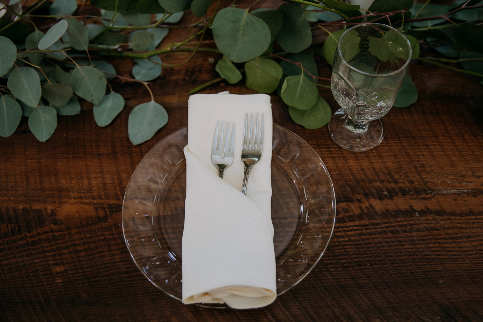 Table setting with eucalyptus