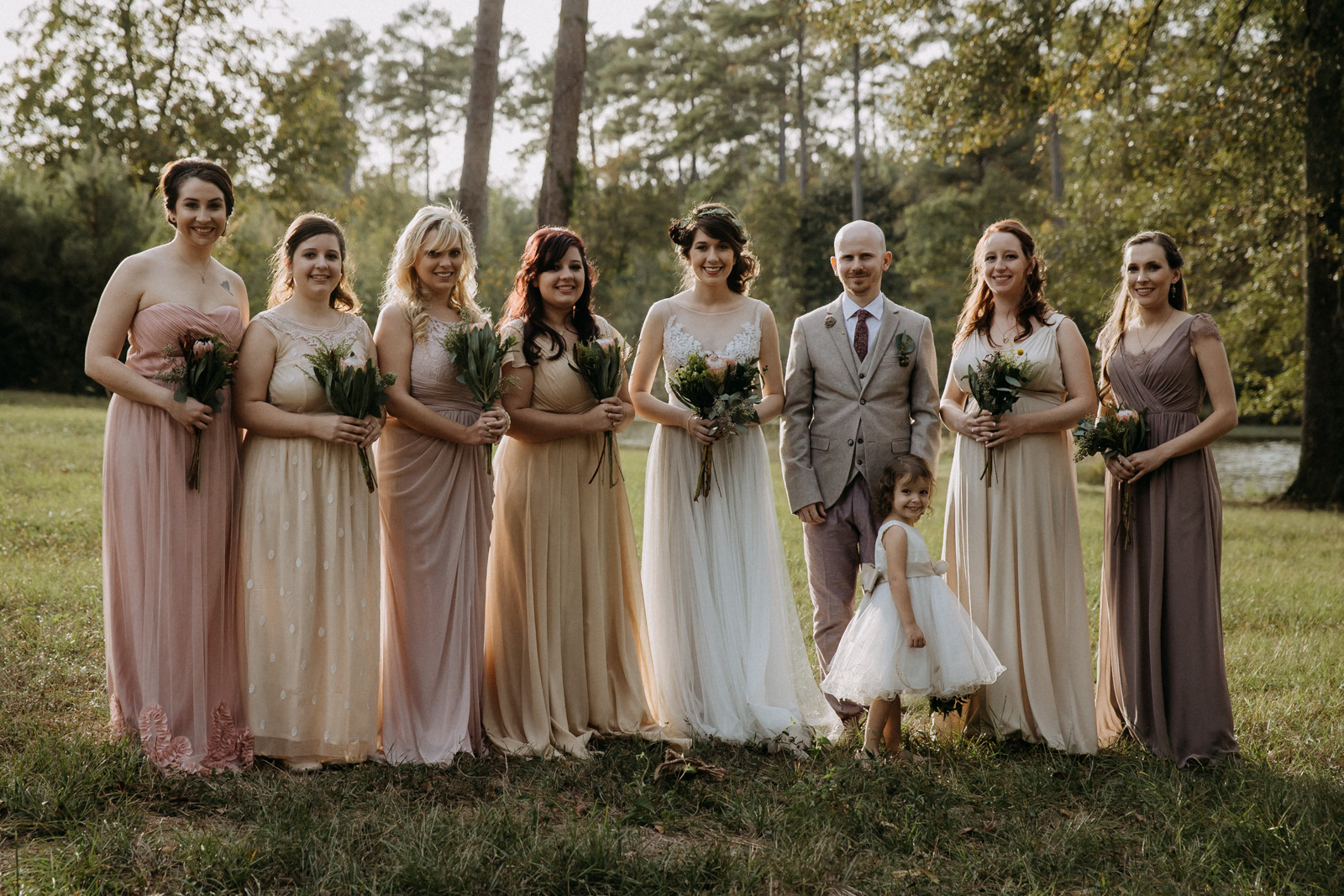The bride and bridesmaids at Rasberry Greene