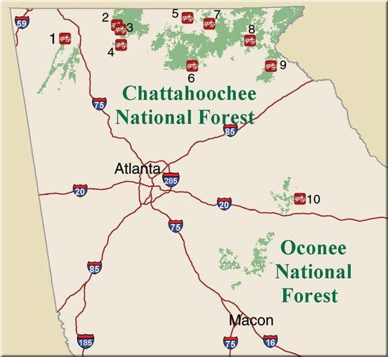 NOTICE:   See the list of trails below for where you can ride. In the Chattahoochee and Oconee National Forests, you can only ride on trails designated for the purpose of off-road riding. For complete details, please   see the OHV Rules and Regulations  .    Google Earth file with all OHV trails