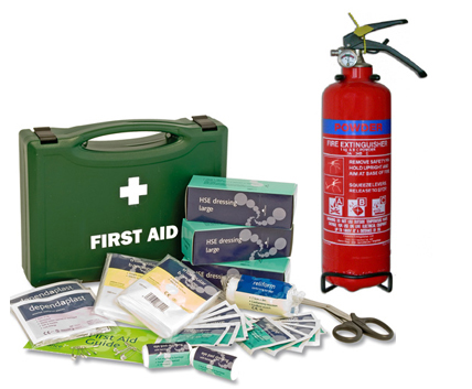 First Aid Kits & Fire Extinguishers are mandatory