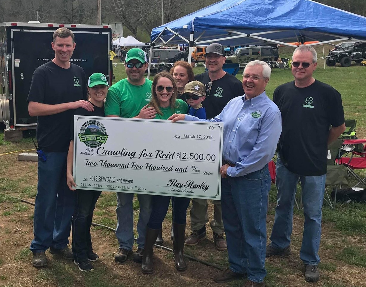"""$2,500 Grant Awarded to """"Crawling for Reid"""" event"""