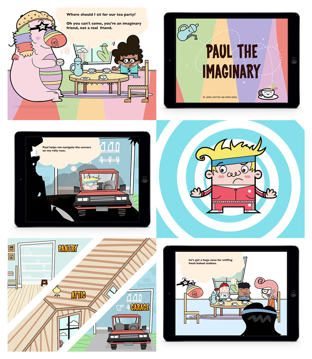 Paul The Imaginary     A book app story about treating all friends equally, even if they are imaginary. Kids will learn the value of sharing and friendship. The main hero, Spencer, learns a valuable lesson about including all his friends in fun activities.