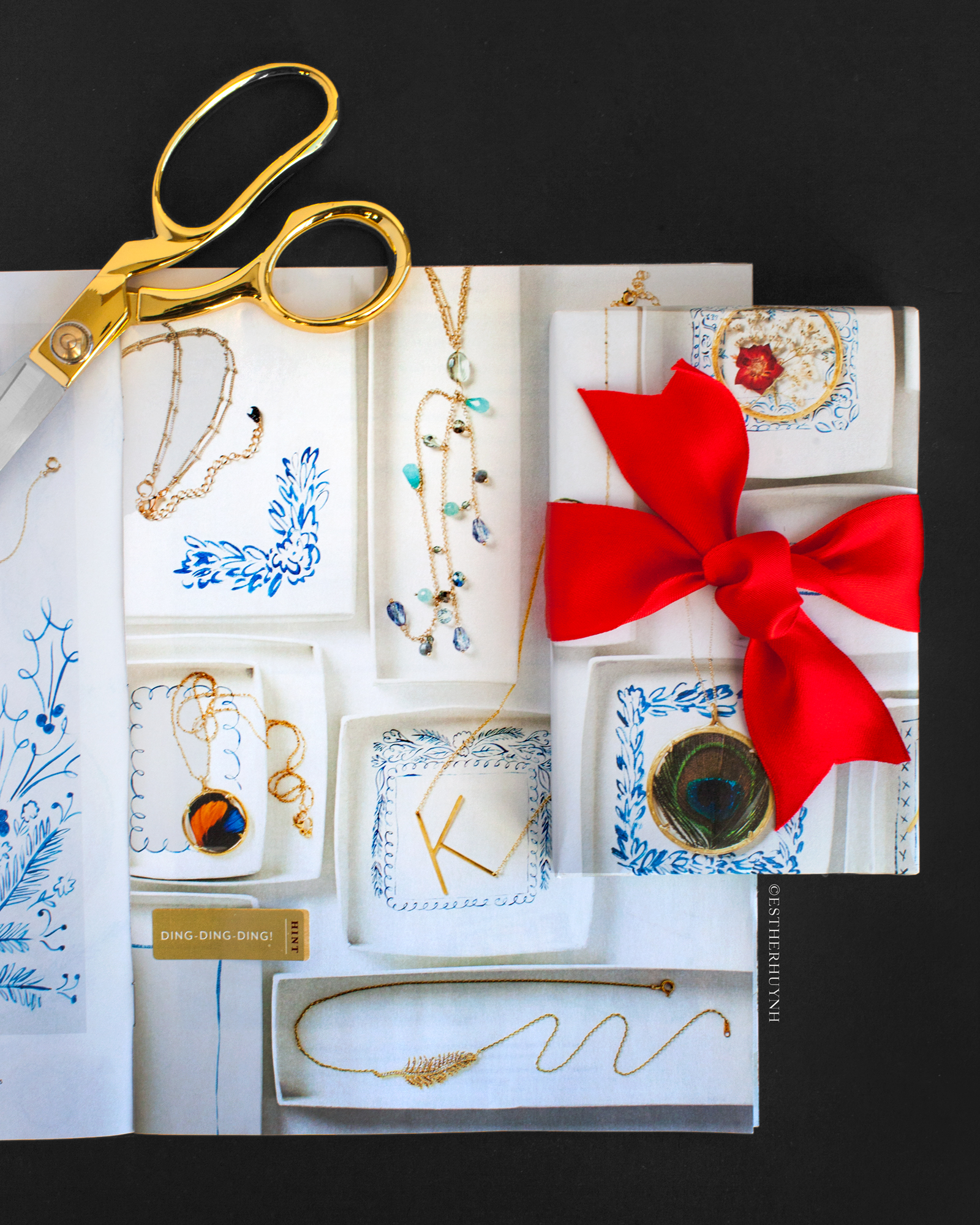 WHEN CHOOSING THE RIGHT PAGE FOR WRAPPING, FIND PAGES THAT HAVE PATTERNED DESIGNS, TEXTURES, OR BRIGHT COLORS. IN THIS PHOTO, I FOUND A FULL SPREAD OF JEWELRY TRAYS & DISHES THAT ACTED LIKE A PATTERN.