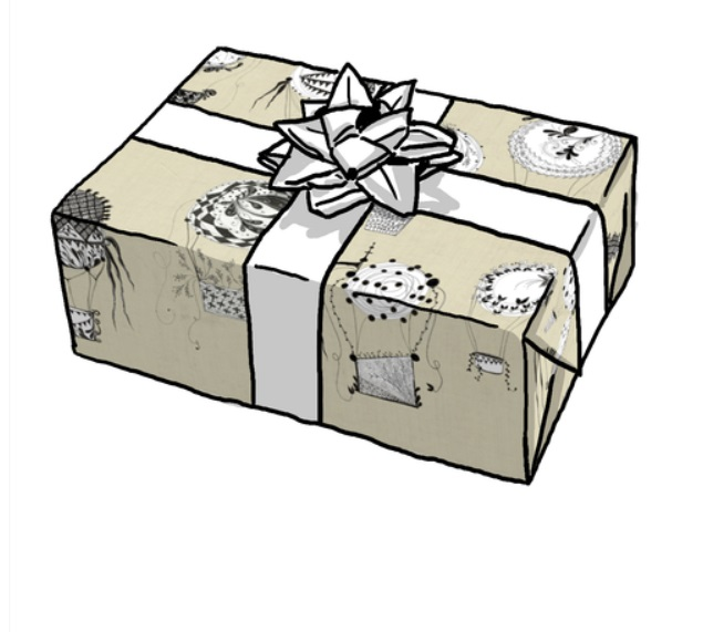 Hunnelle's artwork as gift wrapping - at Spoonflower