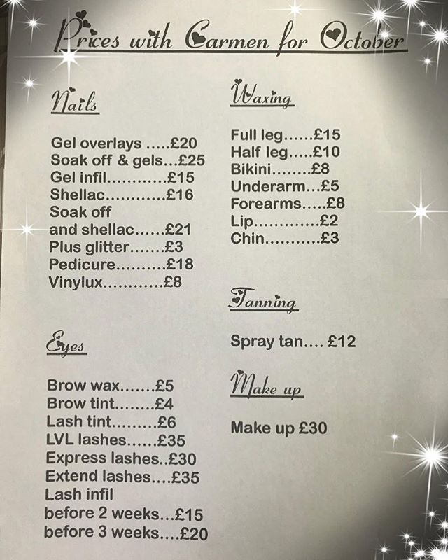 We would like to welcome a new member to our team at Beauty by Danika 😃  Carmen will offer reduced prices for the month of October. Please call or text 07711997019 to make appointments with her. 💄💅🏼✨💖 #newtherapist #reducedprice #nails #makeup  #tanning #waxing #lashes